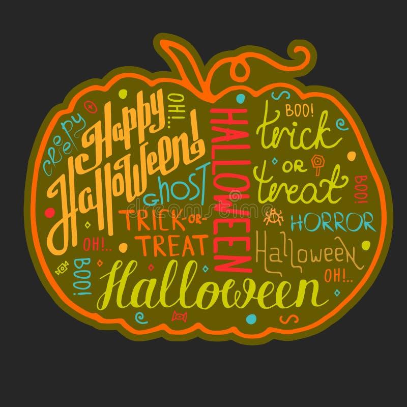 Gezeichnete Textbeschriftung und -graphiken Halloweens Hand auf Gutschein vektor abbildung