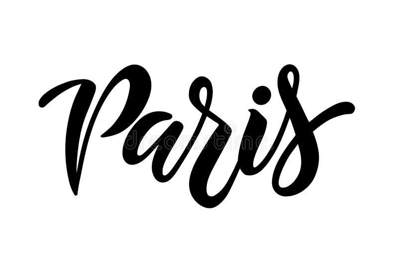 Gezeichnete Vektorbeschriftung Paris Hand lizenzfreie abbildung