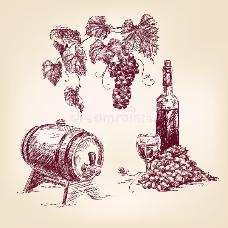 Gezeichnete Vektorillustration der Weinsammlung Hand stock abbildung