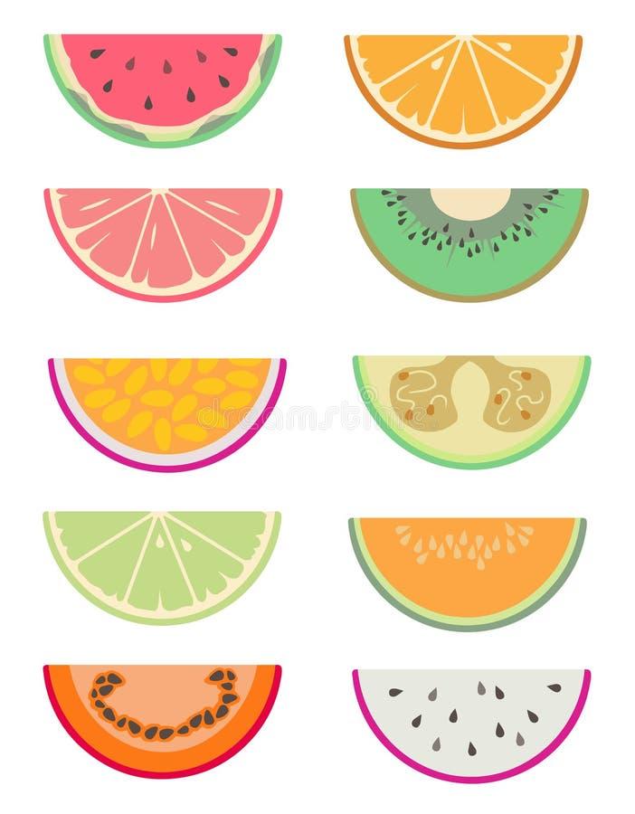 Gezeichnete Vektorsammlung eingestellt mit den verschiedenen exotischen Fruchtscheiben geschnitten zur Hälfte wie Wassermelone, O lizenzfreie abbildung