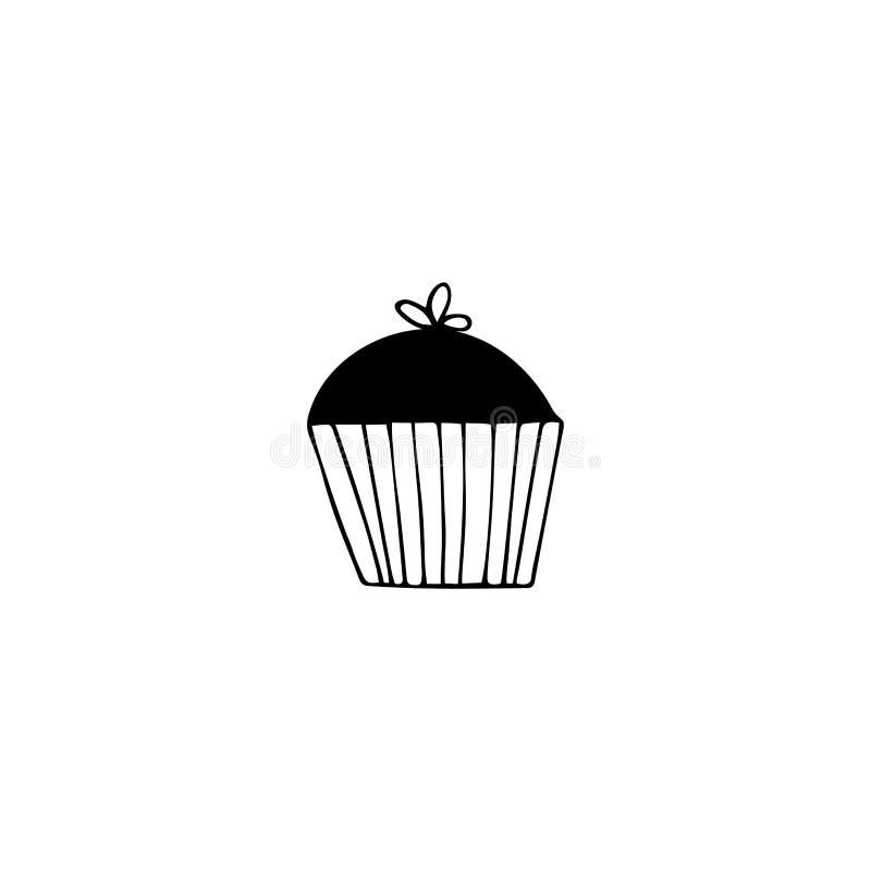 Gezeichneter Gegenstand des Vektors Hand, Schattenbild des kleinen Kuchens Logoelement vektor abbildung