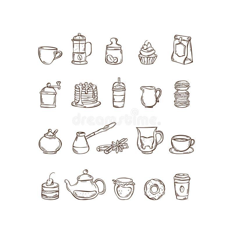 Gezeichneter gesetzter Kaffee und Tee der Ikone des Vektors Hand stock abbildung