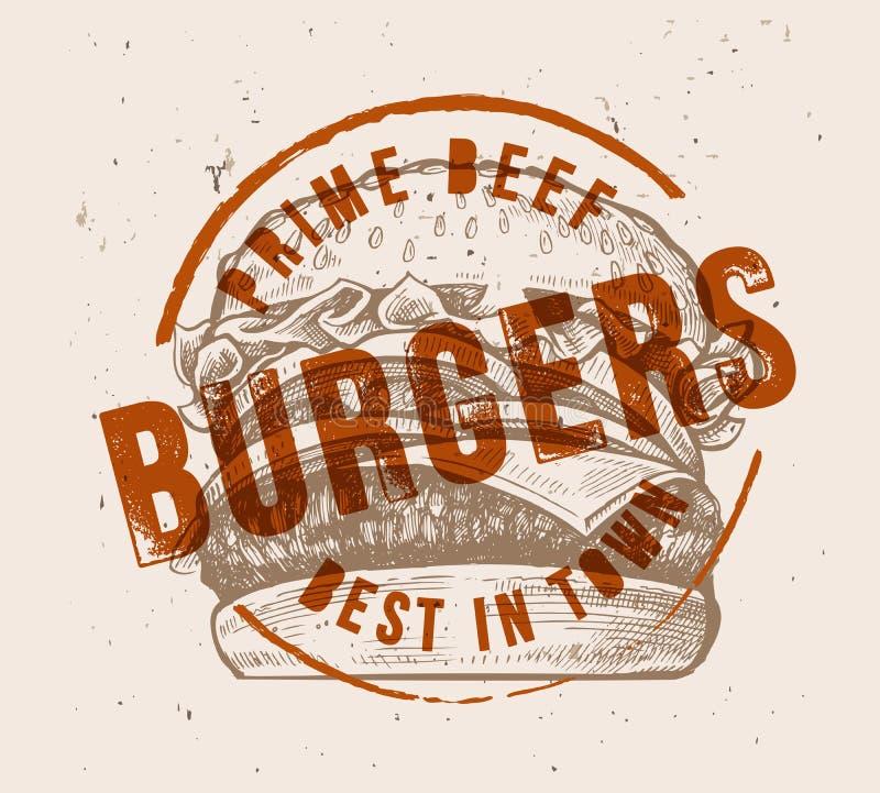 Gezeichneter Hamburger des Vektors Hand lizenzfreie abbildung