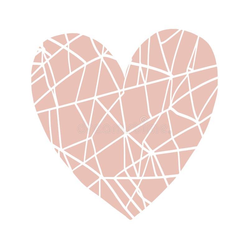 Gezeichneter Herzdruck des Vektors Hand, skandinavische Art stock abbildung