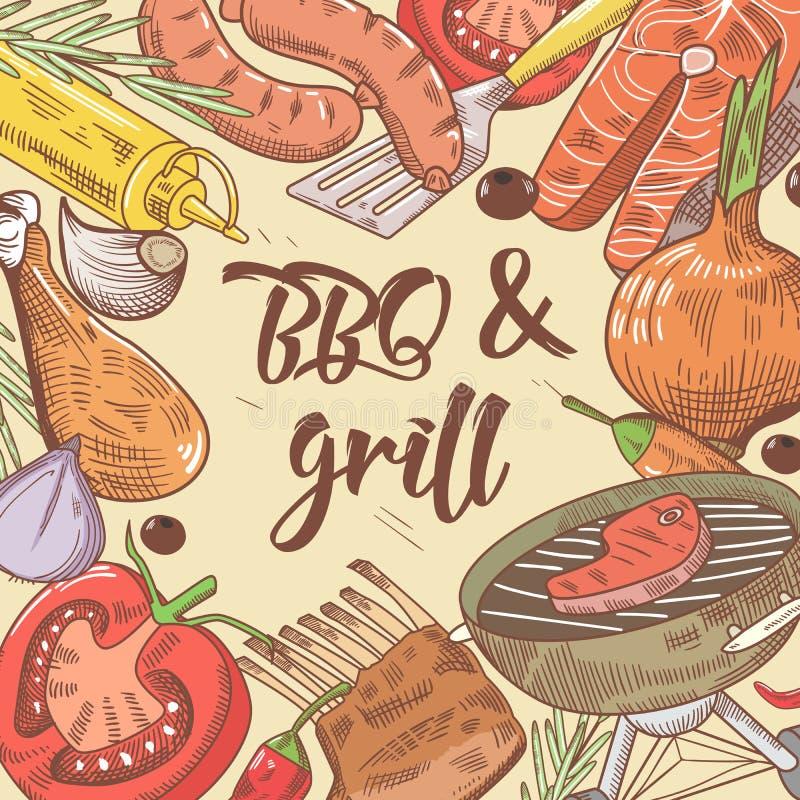 Gezeichneter Hintergrund BBQ und des Grills Hand mit Steak, Fischen und Gemüse Picknickpartei vektor abbildung