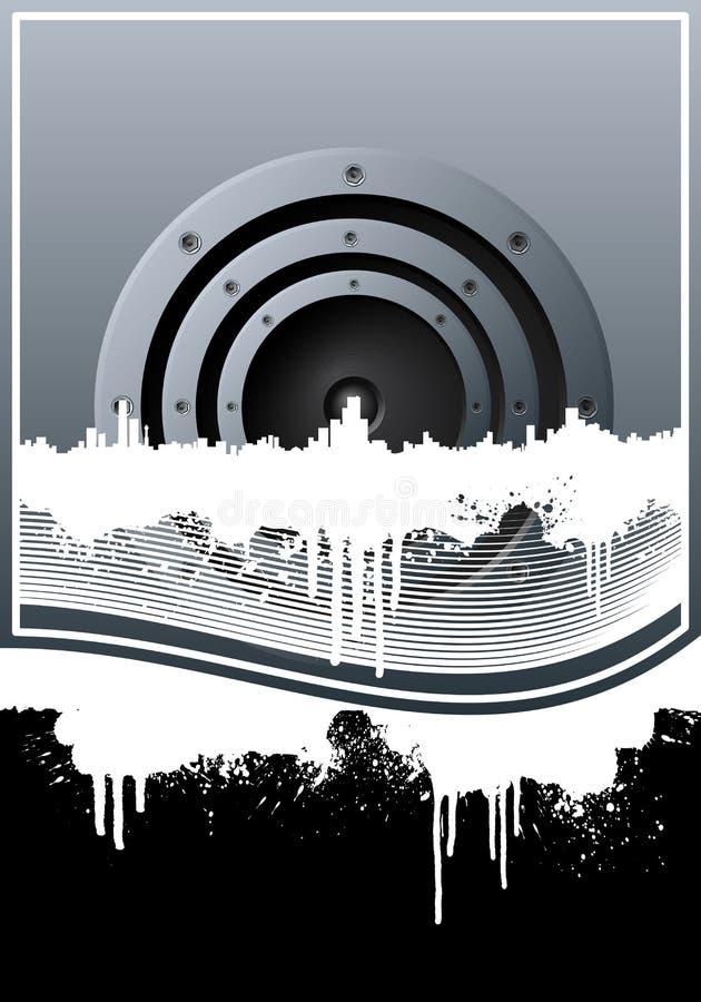 Gezeichneter Hintergrund der Musik-Skyline grunge stock abbildung