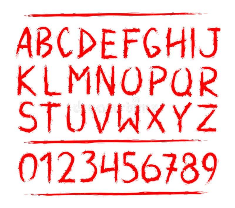Gezeichneter Horror des Bluts Hand, furchtsame Buchstaben stock abbildung
