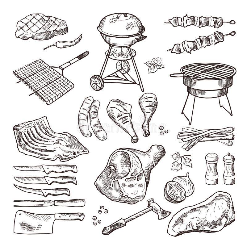 Gezeichneter Illustrationssatz Bbq-Vektors Hand Gegrilltes Fleisch und anderes Zubehör für Grillpartei vektor abbildung