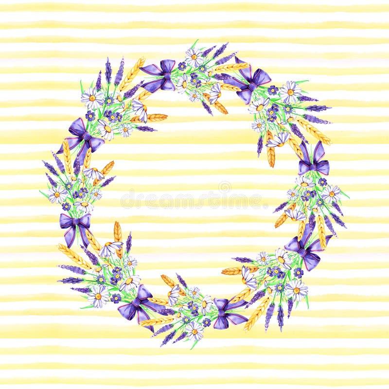 Gezeichneter Rahmen des Aquarells Hand Wreath karte Blumen, Kr?uter und Bl?tter Lavendel und Kamille ansammlung stock abbildung