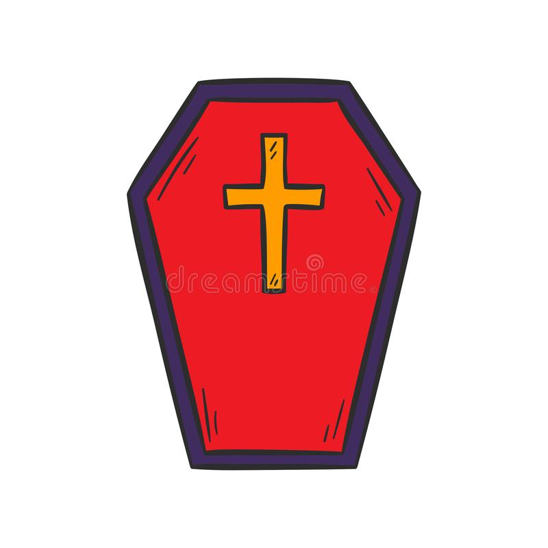 Gezeichneter roter Sarg der Vektorkarikatur Hand stock abbildung