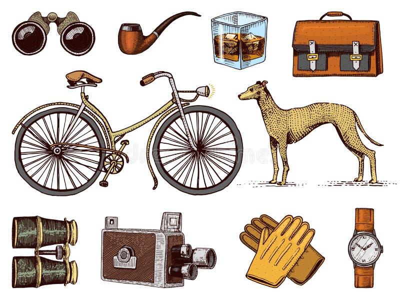 Gezeichneter Satz des Herrzubehörs Hand Viktorianische Ära Ferngläser und Kamera, Fahrrad oder Fahrrad, Aktenkoffer, Armbanduhr vektor abbildung