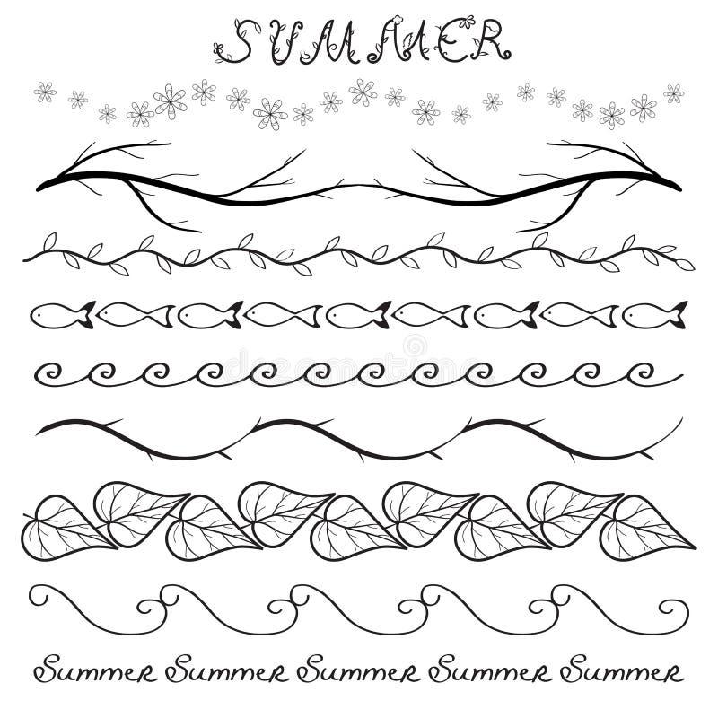 Gezeichneter Satz des Sommers Hand Grenz stock abbildung