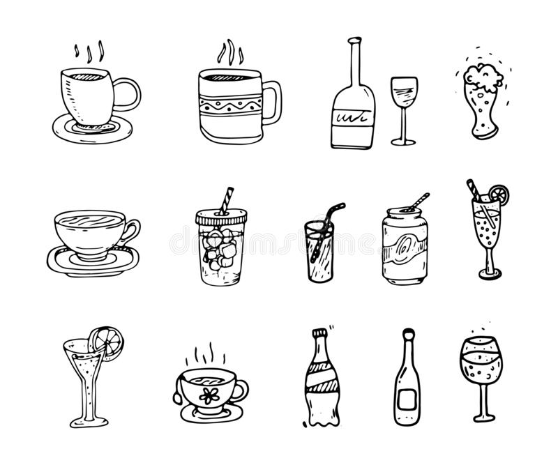 Gezeichneter Satz des Vektors Hand Cocktails und Alkoholiker und nonalcoholi vektor abbildung