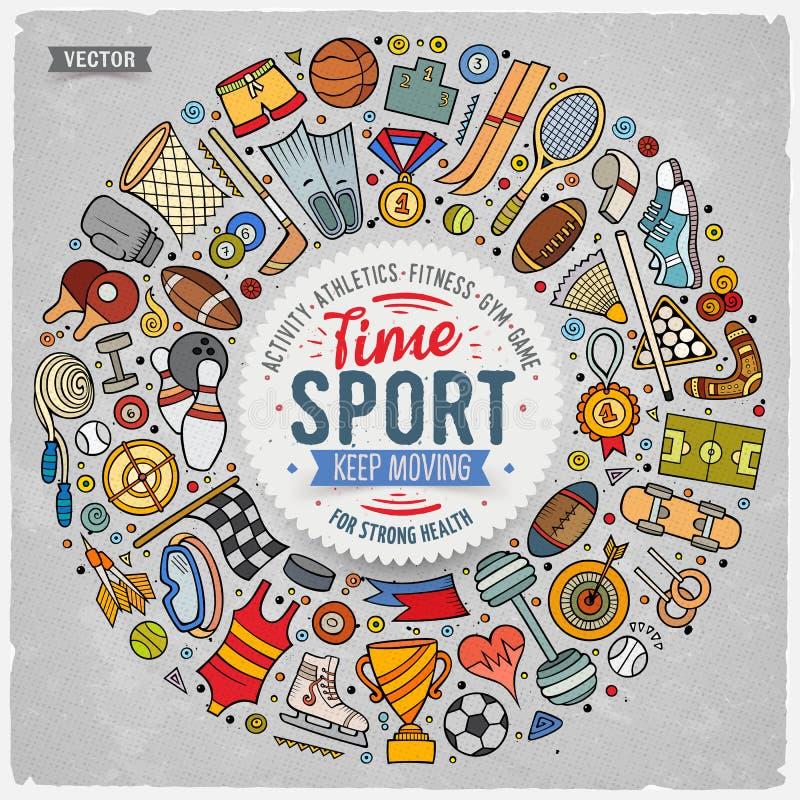 Gezeichneter Satz des Vektors Hand des Sportkarikaturgekritzels wendet ein stock abbildung