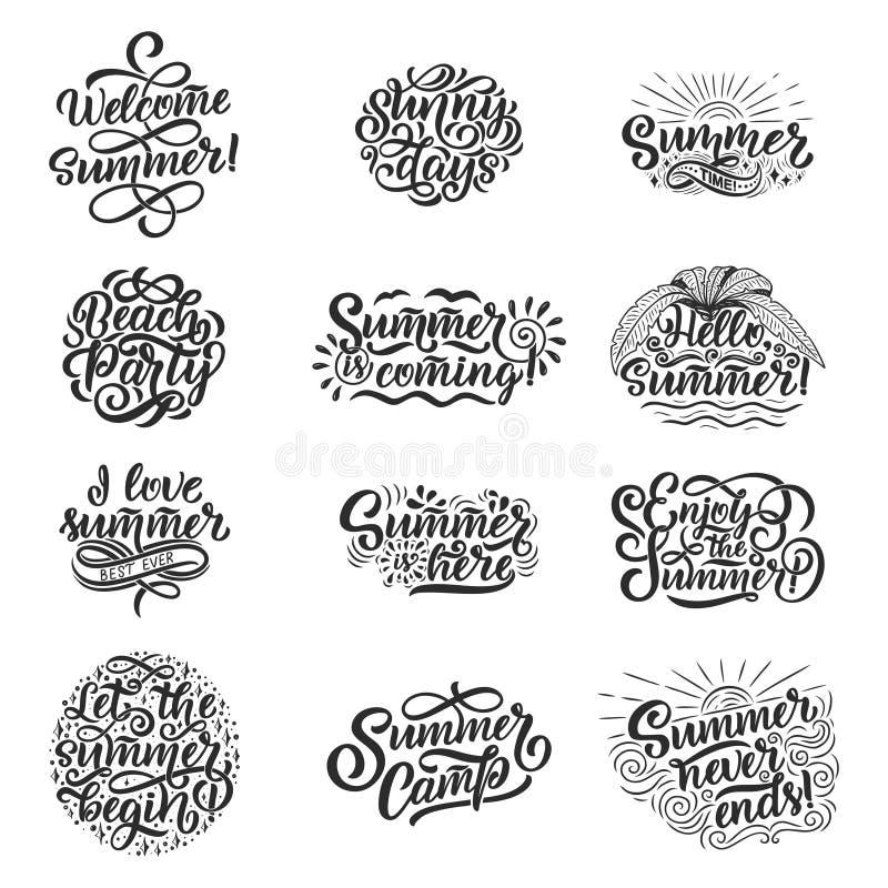 Gezeichneter Satz des Vektors Hand mit Beschriftung über Sommer Lokalisierte Kalligraphie für Reisebüro, Strandfest Großes Design stock abbildung