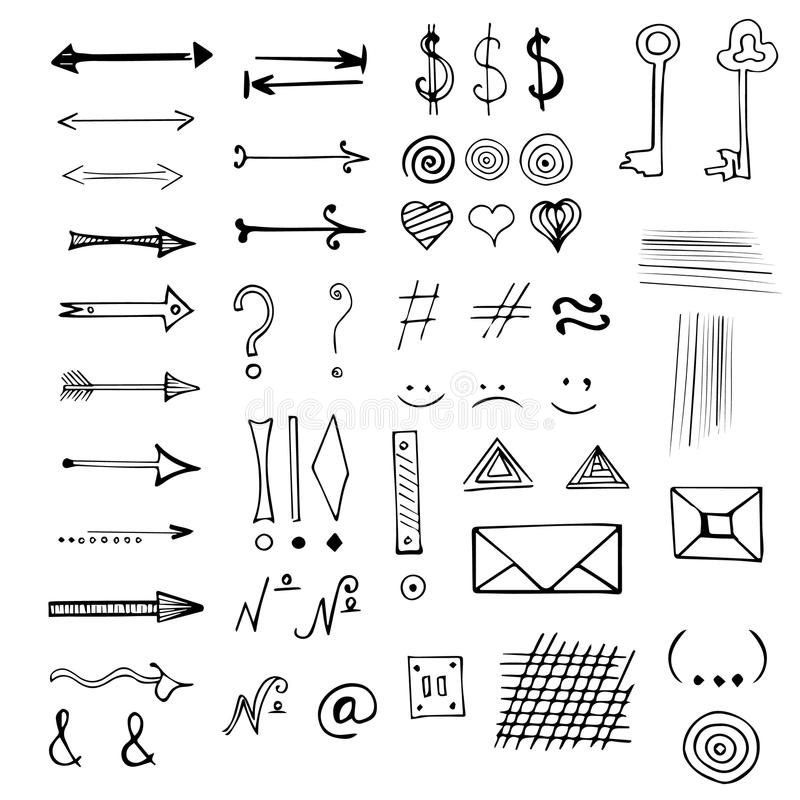 Gezeichneter Satz Des Vektors Hand Zeichen Und Symbole Vektor ...