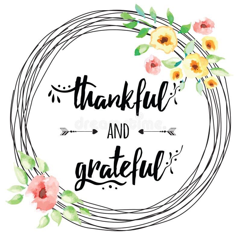 Gezeichneter Text des Vektors dankbare dankbare Hand in Blumenkranz lizenzfreie abbildung
