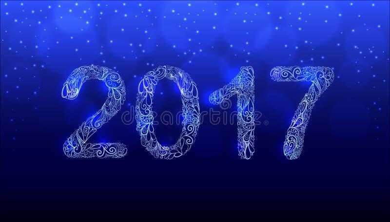 Gezeichneter Vektor des neuen Jahr-2017 Hand Verzierungs-Zahlen lizenzfreies stockbild
