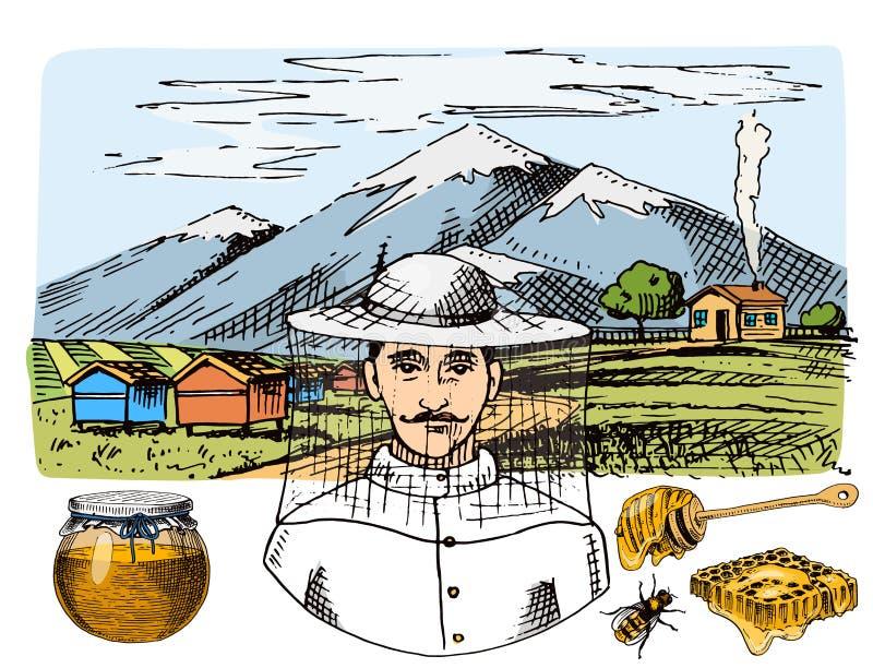 Gezeichneter Weinlesehonig des Bienenhausbauernhofvektors Hand, der Landwirtimkerillustrations-Naturprodukt durch Biene macht stock abbildung