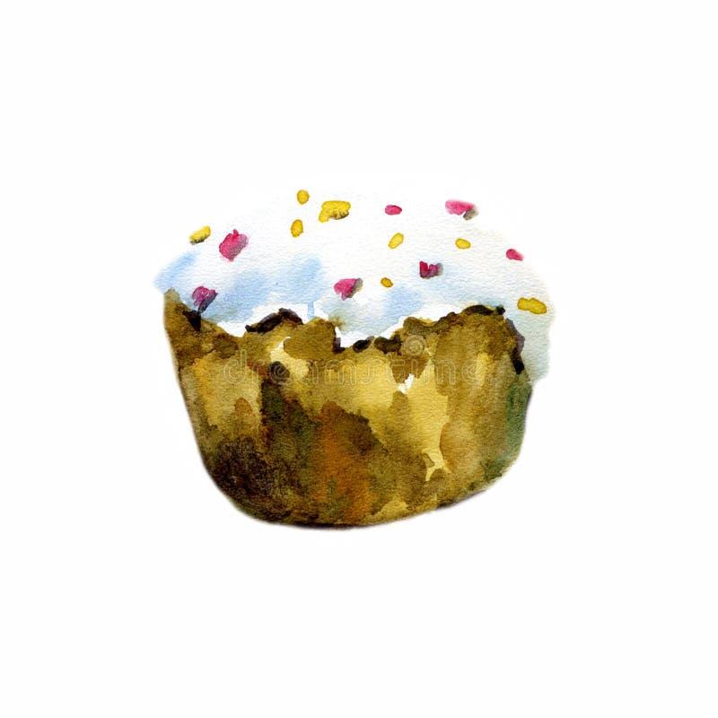 Gezeichnetes Aquarell Ostern-Kuchens Hand lizenzfreie abbildung