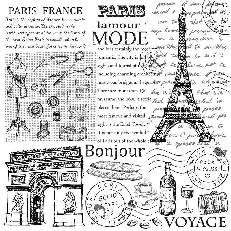 Gezeichnetes Bild Paris-Symbols Hand im Rahmen mit Gestaltungselementsatz