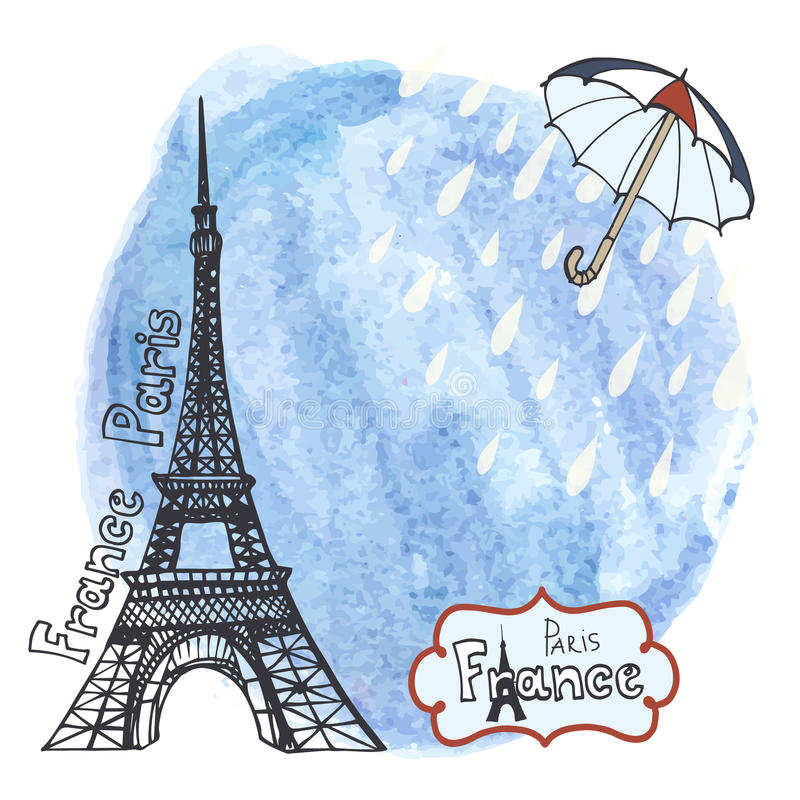 Gezeichnetes Bild Paris-Symbols Hand im Rahmen mit Gestaltungselementsatz Aquarellspritzen, Regenschirm, Regen vektor abbildung