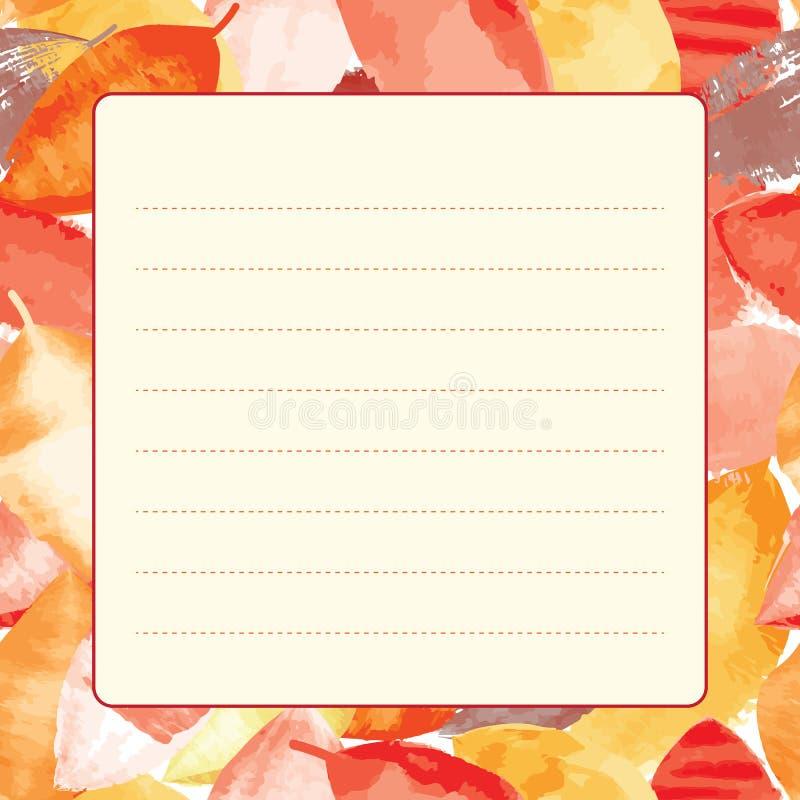 Gezeichnetes Blatt Papier für das Schreiben auf bunten nahtlosen Hintergrund lizenzfreie abbildung