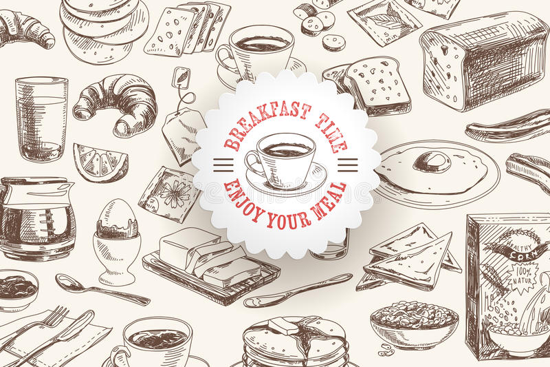 Gezeichnetes Frühstück des Vektors Hand und Niederlassungshintergrund stock abbildung