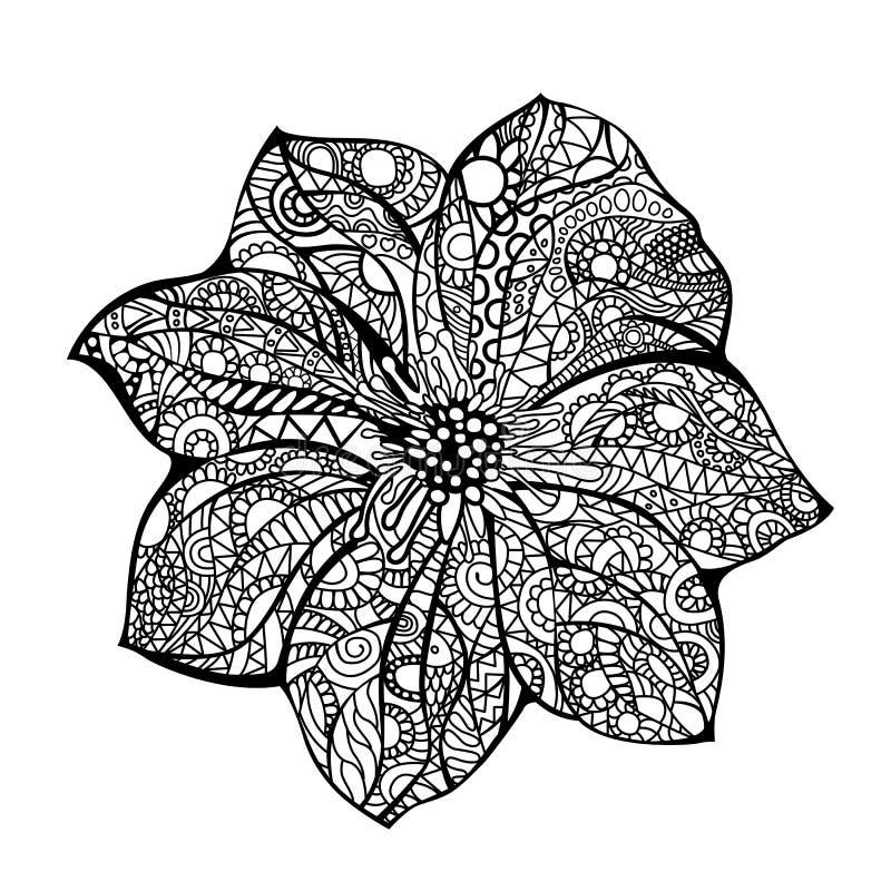 Gezeichnetes Gekritzel Blumenvektorillustration Schwarzen weiße Hand Ethnisches Muster Afrikanisch, indisch, Totem, Design Skizze vektor abbildung