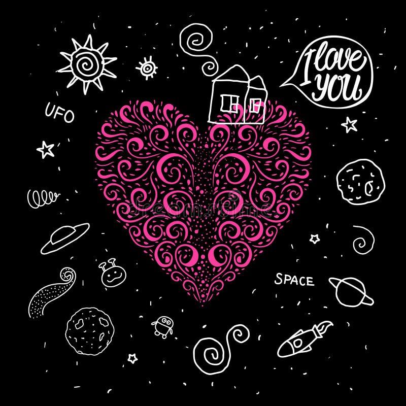 Gezeichnetes Herz des Vektors Hand kräuselt sich im Raumthema Süßes Haus des Gekritzels und um Raumuniversum vektor abbildung