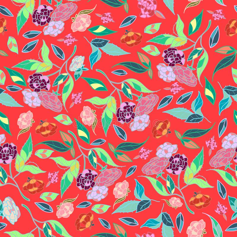 Gezeichnetes klassisches Design der schönen Blumen des Retrostils Hand mit nahtlosem Mustervektor des hellen Hintergrundes stock abbildung