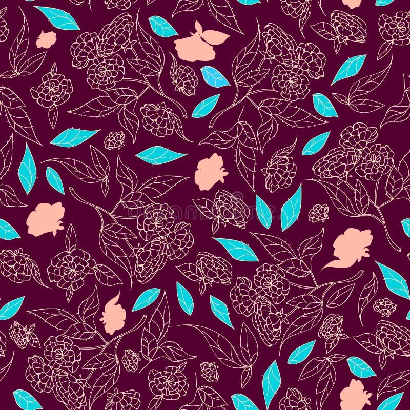 Gezeichnetes klassisches Design der schönen Blumen der Weinlese Hand mit nahtlosem Mustervektor des Retrostilhintergrundes stock abbildung