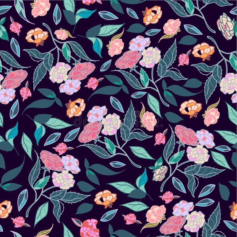 Gezeichnetes klassisches Design der schönen Blumen der Weinlese Hand mit nahtlosem Mustervektor des Retrostilhintergrundes vektor abbildung
