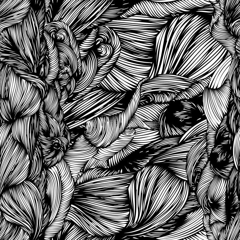 Gezeichnetes Muster der Welle des Vektors nahtlose Hand Kann für wallpap verwendet werden lizenzfreie abbildung