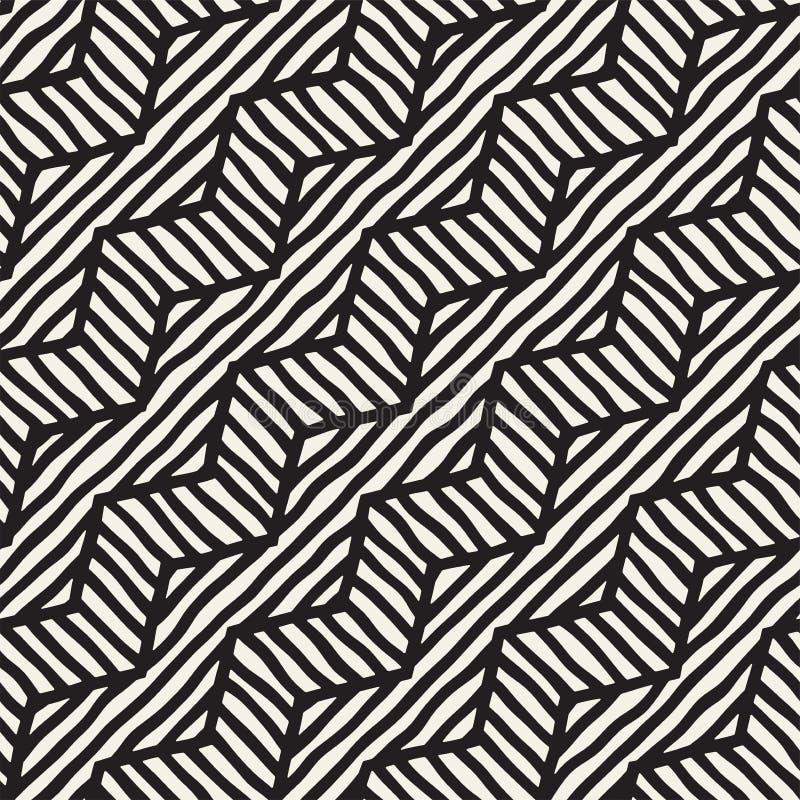Gezeichnetes Muster des Vektors nahtlose Hand Zickzack und raue Linien des Streifens Stammes- Auslegunghintergrund Ethnische Gekr vektor abbildung