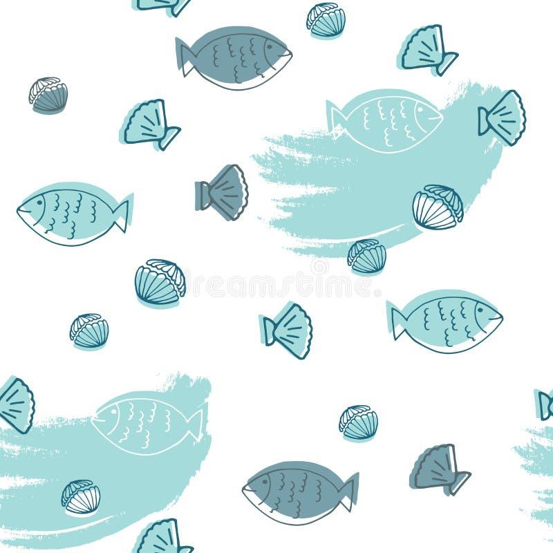 Gezeichnetes nahtloses Muster der Meeresfrüchte Hand stock abbildung