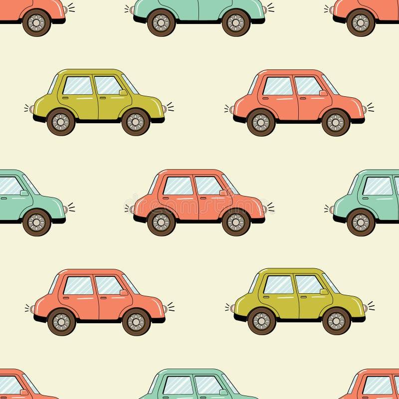Gezeichnetes nahtloses Muster des Autos der Karikaturart Hand lizenzfreie abbildung