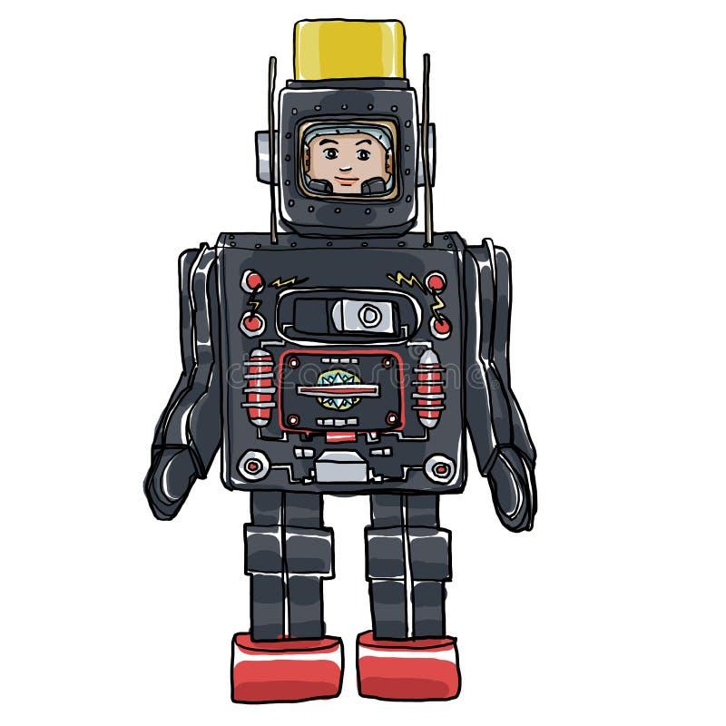 Gezeichnetes nettes Kunst Weinlese-Zinn-u. Plastik-Toy Robots Hand illustratio vektor abbildung