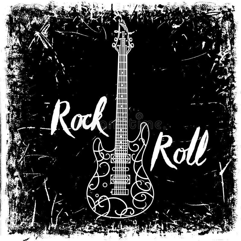 Gezeichnetes Plakat der Weinlese Hand mit E-Gitarre und Beschriftungsrock-and-roll auf Schmutzhintergrund Retro- vektorabbildung vektor abbildung