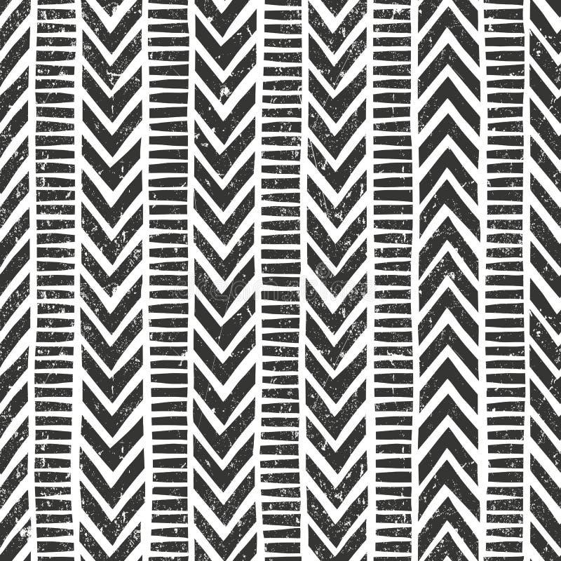 Gezeichnetes Stammes- Muster des Vektors Hand nahtlos stock abbildung