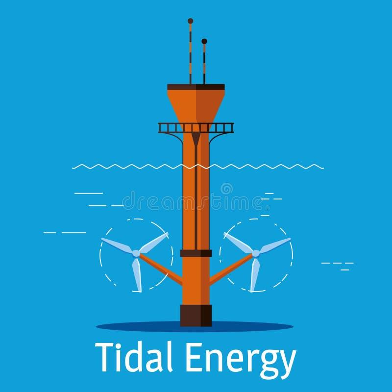 Gezeiten- Kraftwerk auf einem blauen Hintergrund Gezeiten- Energiequellenkonzept Auch im corel abgehobenen Betrag lizenzfreie abbildung