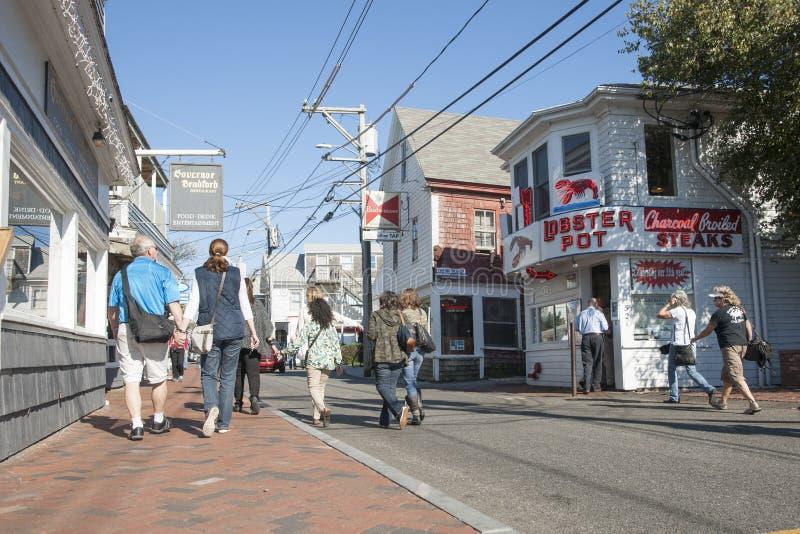 Gezellig ouderwetse straat in Provincetown stock foto