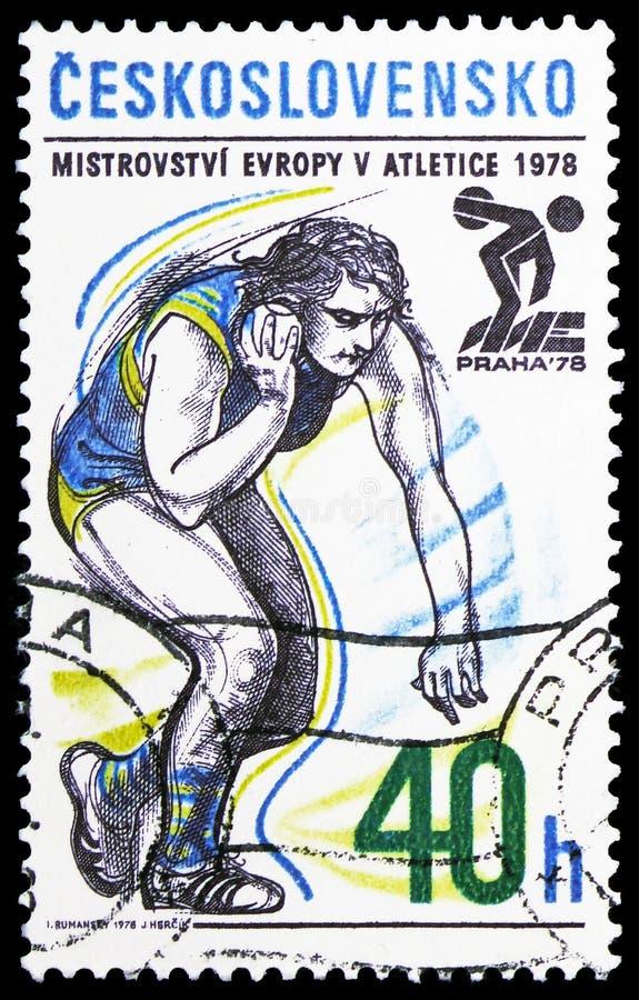 Gezet schot, Europese Atletische Kampioenschappen serie, circa 1978 stock foto
