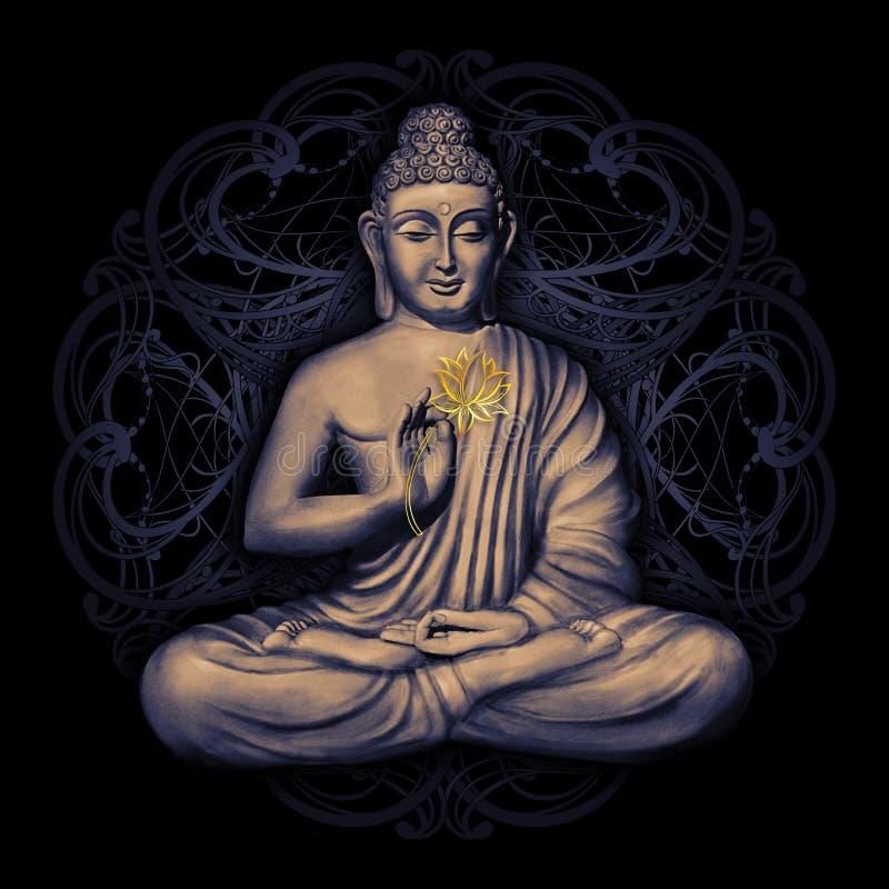 Gezette Boedha in Lotus Pose stock illustratie
