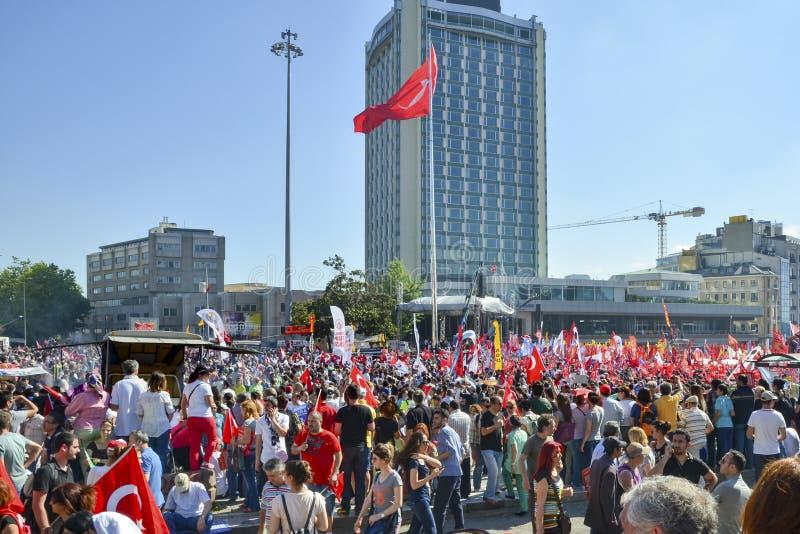 Gezi Park protests. Demonstrators in Taksim Square stock image