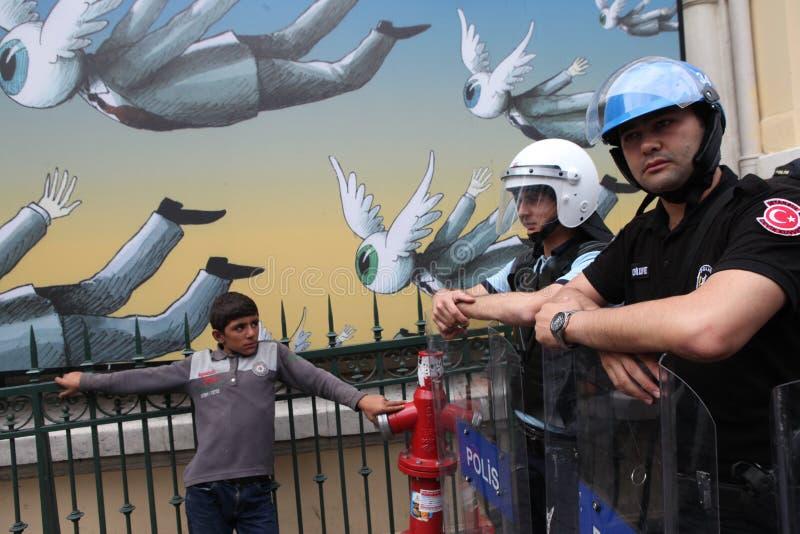 Gezi parkerar årsdag i Istanbul arkivfoton