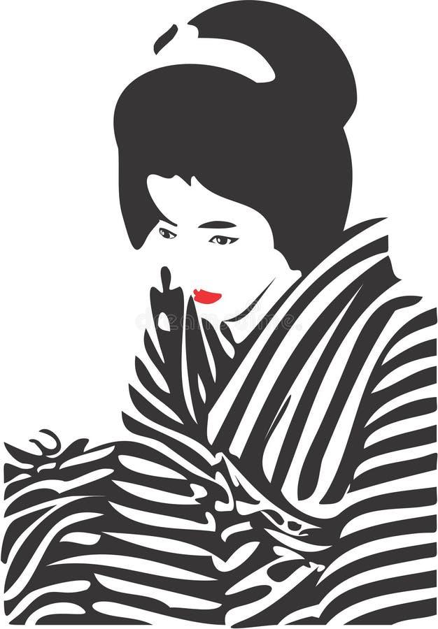 Gezicht 12 van de geisha stock illustratie
