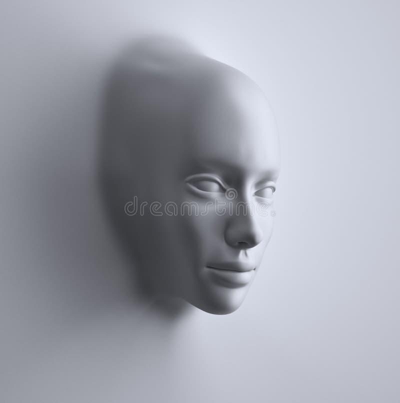 Gezicht dat van een abstracte 3d oppervlakte wordt gevormd vector illustratie