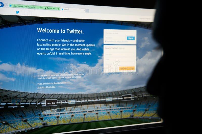 Gezicht die in Twitter bekijken - sociale voorzien van een netwerkplaats royalty-vrije stock foto