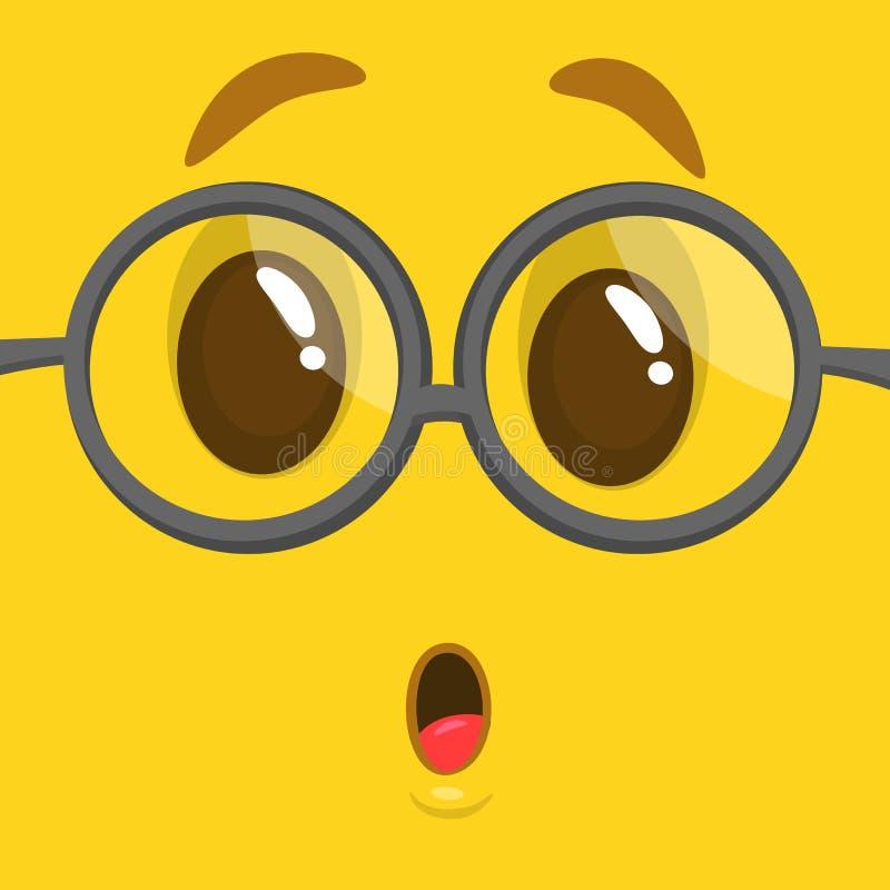 Gezicht die van het beeldverhaal het grappige slimme en slimme monster glazen dragen Vector illustratie vector illustratie